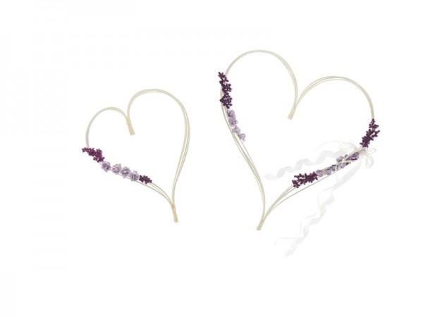 Paris Dekorace Ratanové srdce fialové kytičky