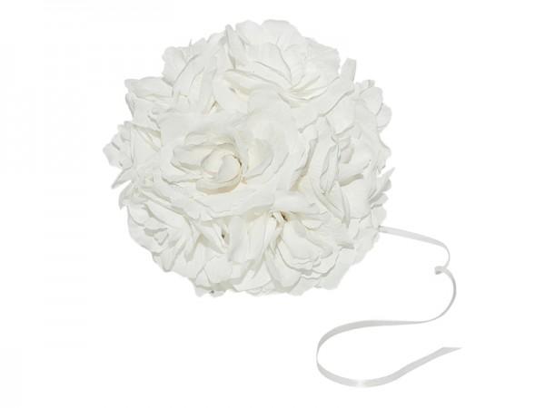 Paris Dekorace Koule plná květů  bílá, 21 cm