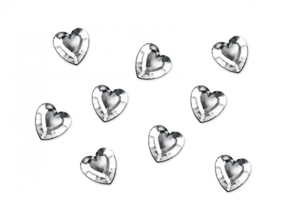 Paris Dekorace Aplikace stříbrné srdíčka 50 ks