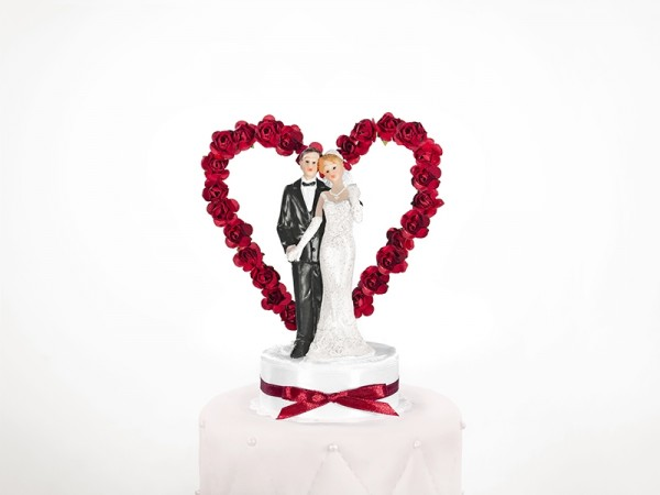 Paris Dekorace Figurka novomanželé na dort  15cm, bílo-bordó