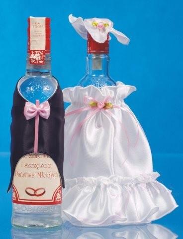 Paris Dekorace Ozdoba na lahve šaty a oblek bílo-růžová