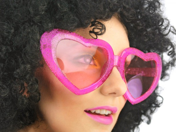 Paris Dekorace Velká srdce brýle, růžové