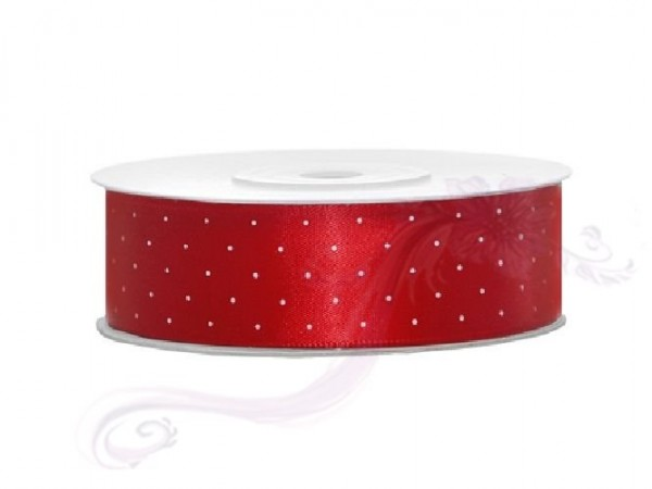 Paris Dekorace Saténová stuha puntík,červená , šířka 2,5 cm, návin 25 m