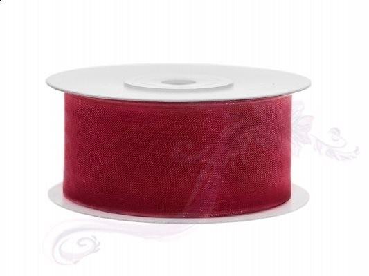 Paris Dekorace Stuha šifon červená, šířka 3,8 cm, návin 25 m