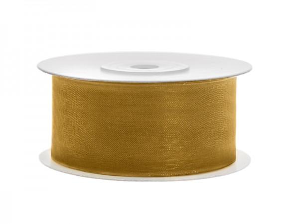 Paris Dekorace Stuha šifon zlatá, šířka 3,8 cm, návin 25m
