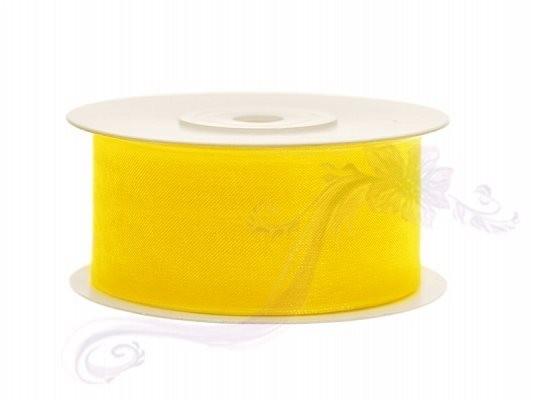 Paris Dekorace Stuha šifon žlutá, šířka 3,8 cm, návin 25 m