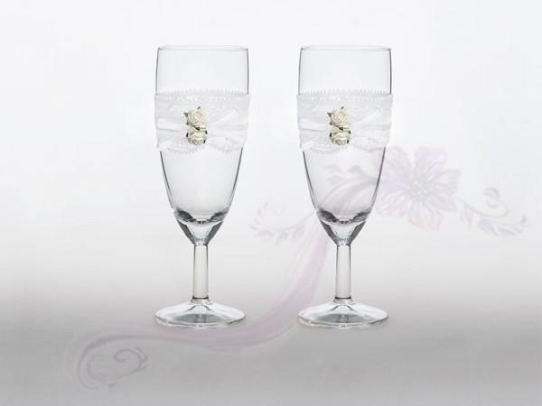 Paris Dekorace Svatební skleničky na šampus,2ks