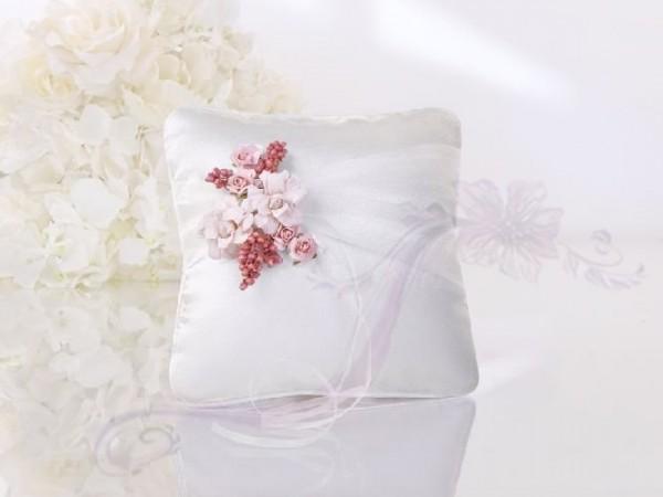 Paris Dekorace Polštářek na prstýnky s růžovými květy