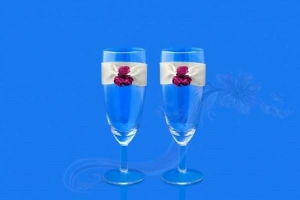 Paris Dekorace Svatební skleničky na šampus růžičky,2ks