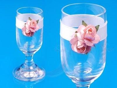 Paris Dekorace Skleničky na vodku s růžovými růžemi