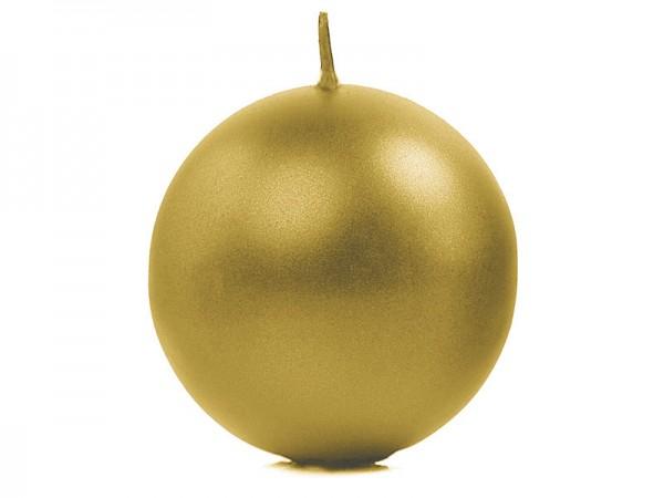 """Paris Dekorace Svíčka """"Koule"""" 80mm metalická  zlatá"""