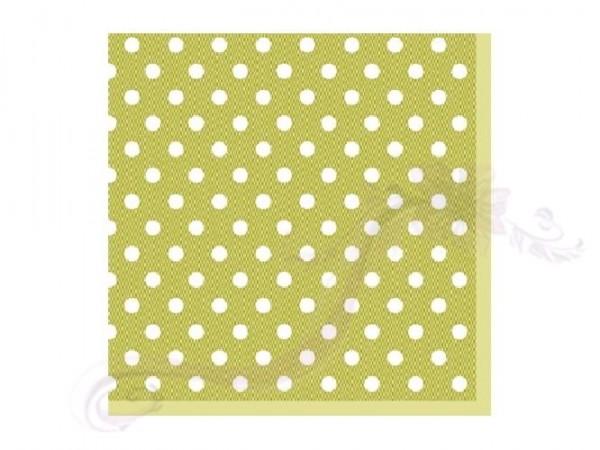 Paris Dekorace Ubrousek 3vrstvy,25cm,sv. zelený puntík, 20 ks