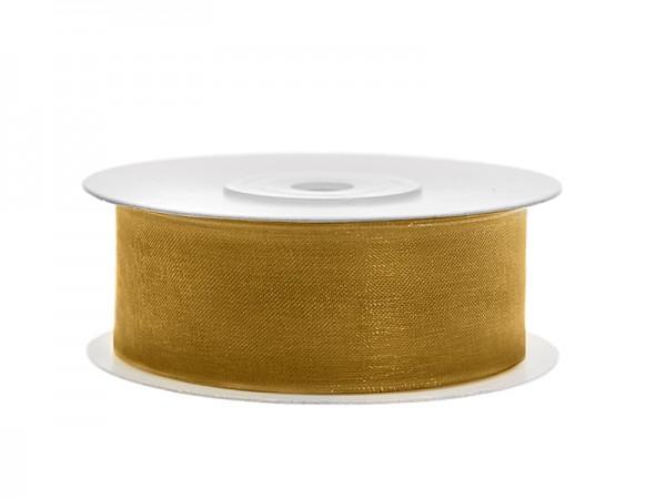 Paris Dekorace Stuha šifon zlatá, šířka 2,5 cm, návin 25 m