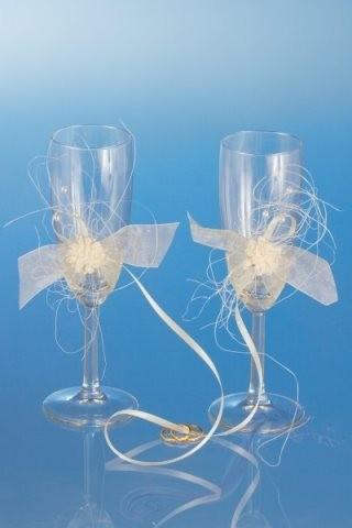 Paris Dekorace Skleničky na šampaňské s aplikací květů