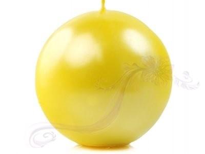 "Paris Dekorace Svíčka ""Koule"" 100mm metalická žlutá"