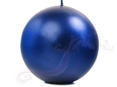 """Paris Dekorace Svíčka """"Koule"""" 100mm metalická královská modrá"""