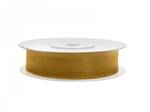 Paris Dekorace Stuha šifon zlatá, šířka 1,2 cm, návin 25 m