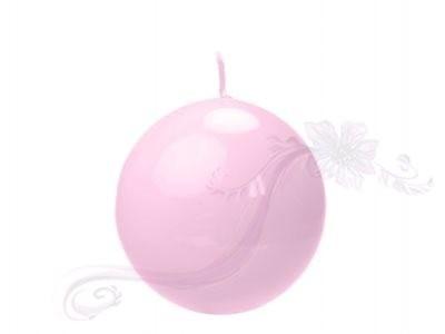 """Paris Dekorace Svíčka """"Koule""""  100mm  lakovaná světlá růžová"""