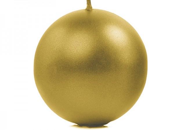 """Paris Dekorace Svíčka """"Koule"""" 100mm metalická zlatá"""