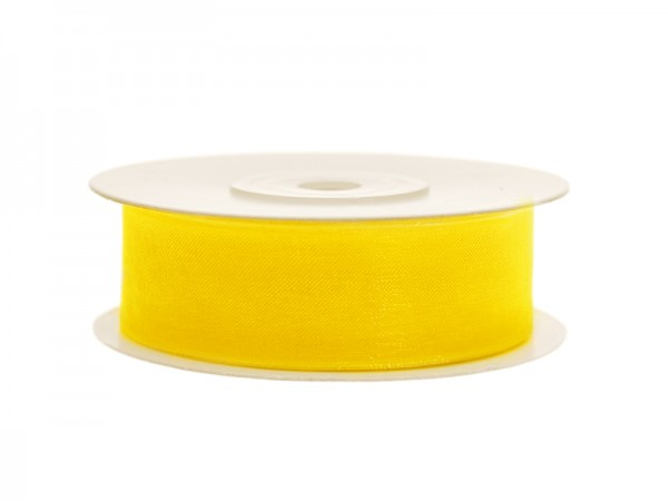 Paris Dekorace Stuha šifon žlutá, 19 mm / 25 m
