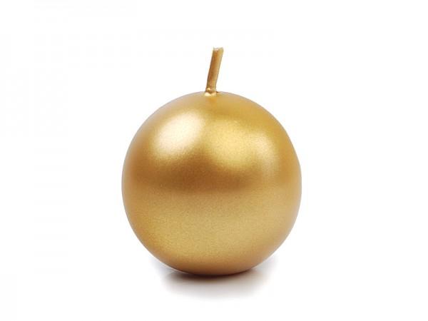 """Paris Dekorace Svíčka """"Koule"""" 45mm metalická zlatá"""