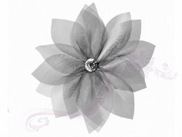 Paris Dekorace Kytička s kamínkem stříbrná