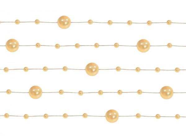 Paris Dekorace Girlanda perlová,  jemná zlatá