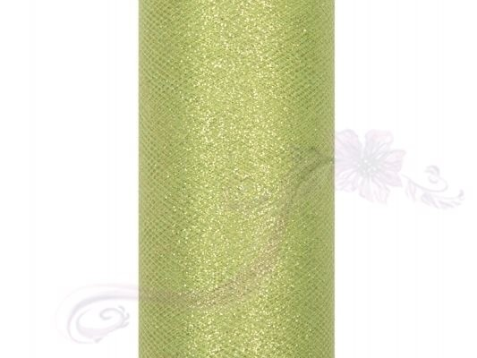Paris Dekorace Tyl s lurexem, sv. zelený, 15cm/9m