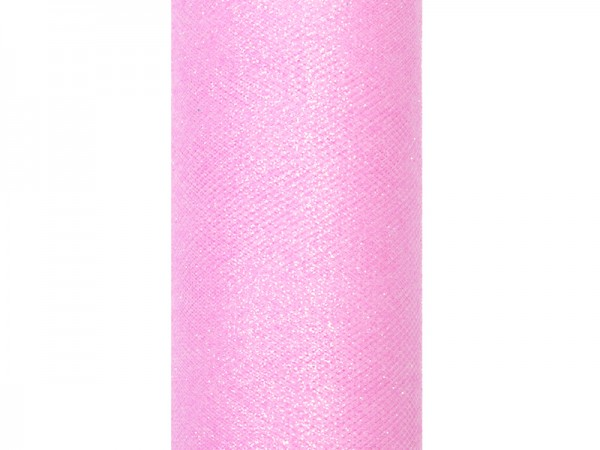 Paris Dekorace Tyl s lurexem, sv. růžový, 15cm/9m