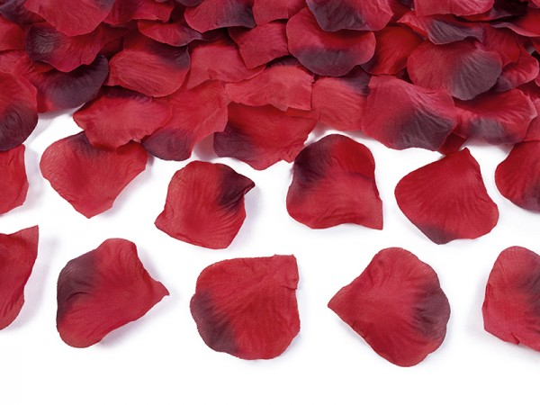 Paris Dekorace Plátky růží  červené s bordó, 100ks v balení