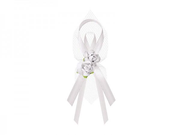 Paris Dekorace Vývazky-tyl, růže 9cm, bílá