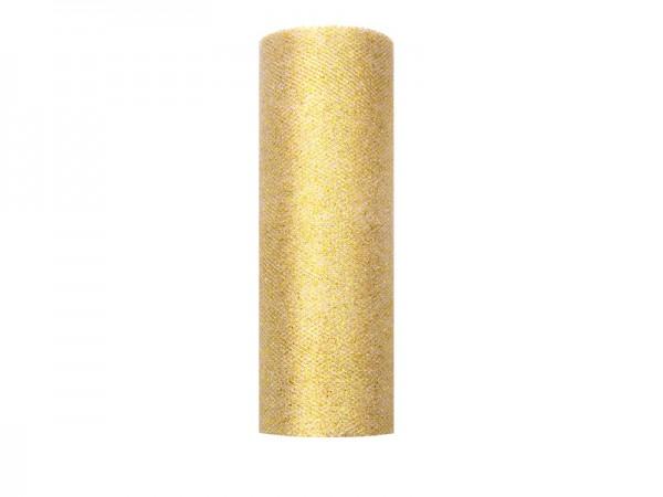 Paris Dekorace Tyl s lurexem, zlatý, 15cm/9m