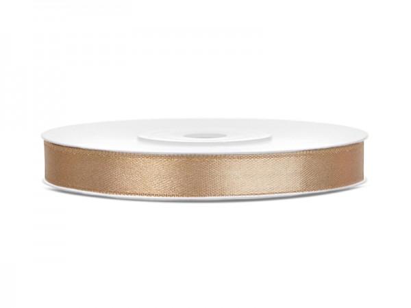 Paris Dekorace Saténová stuha světlá zlatá, šířka 0,6 cm, návin 23 m