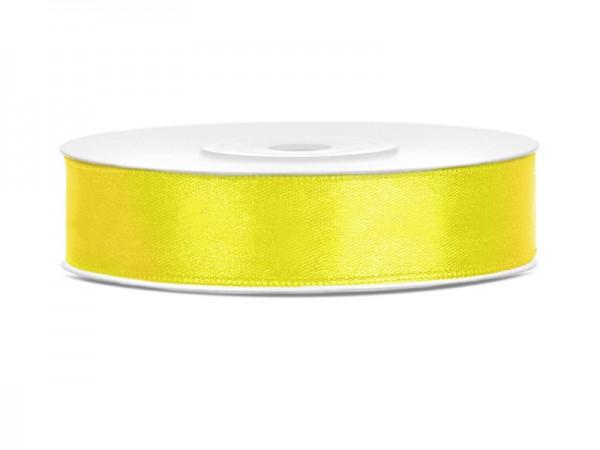 Paris Dekorace Saténová stuha  žlutá, 12mm/25m