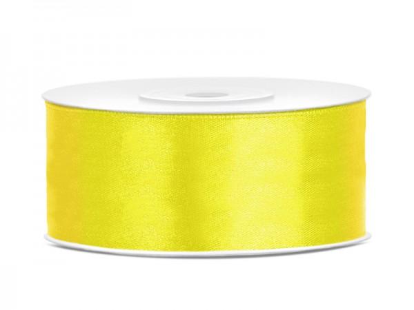 Paris Dekorace Saténová stuha  žlutá, 25mm/25m