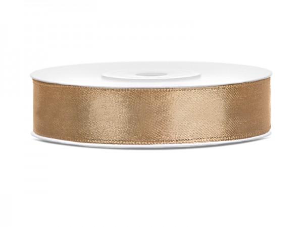 Paris Dekorace Saténová stuha světlá zlatá, 12mm/25m