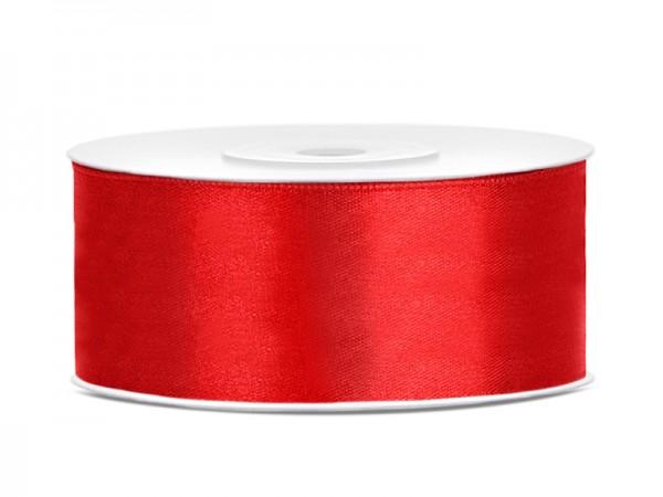 Paris Dekorace Saténová stuha  červená, 25mm/25m