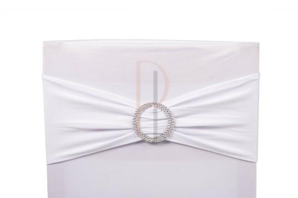 Paris Dekorace Šerpa na židle s ozdobnou sponou bílá