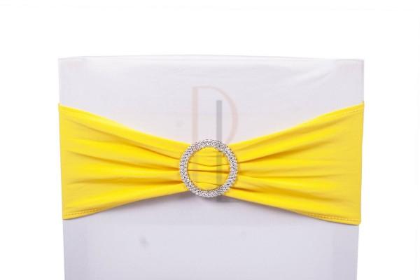 Paris Dekorace Šerpa na židle s ozdobnou sponou žlutá