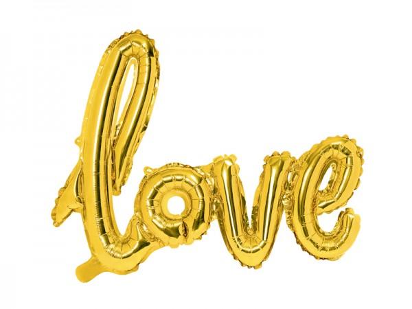 Balónek fóliový LOVE, zlatý