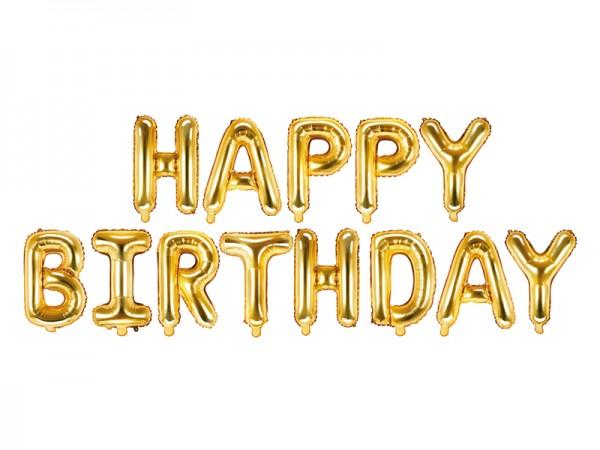 Paris Dekorace Foliový nápis Happy Birthday, zlatý