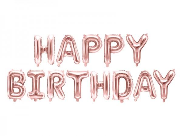 Foliový nápis Happy Birthday, růžové zlato