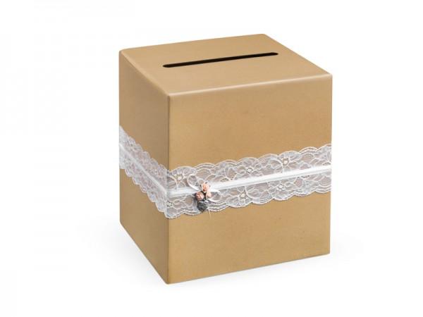 Paris Dekorace Svatební box, hnědý s krajkou a srdíčkem