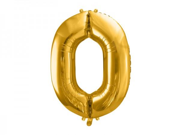 Paris Dekorace Foliový zlatý balónek číslo 0, 86 cm