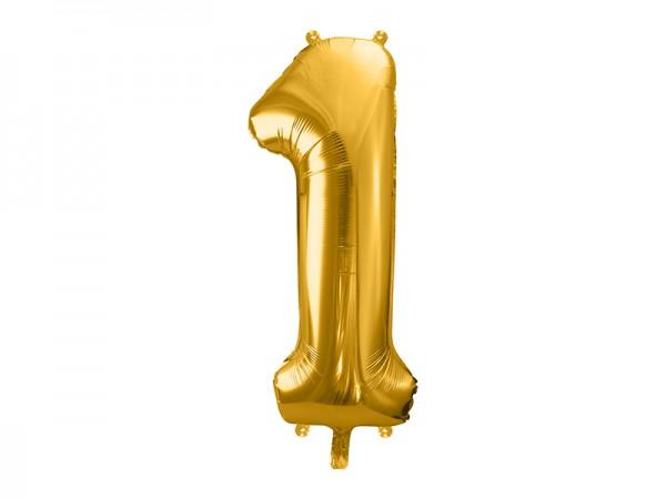 Paris Dekorace Foliový zlatý balónek číslice 1, 86 cm