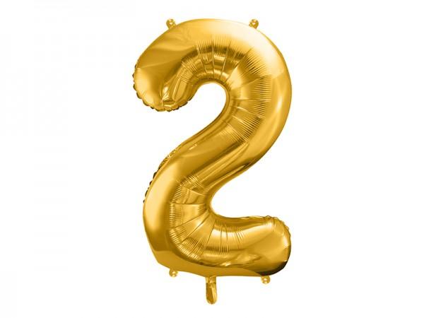 Foliový zlatý balónek číslice 2, 86 cm