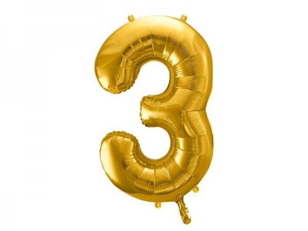 Foliový zlatý balónek číslice 3, 86 cm