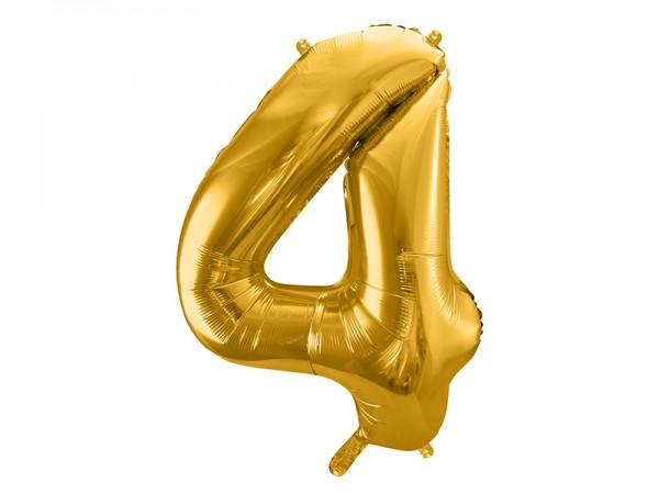 Paris Dekorace Foliový zlatý balónek číslice 4, 86 cm