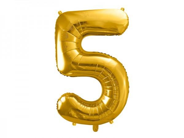 Paris Dekorace Foliový zlatý balónek číslice 5, 86 cm