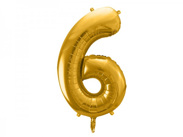 Paris Dekorace Foliový zlatý balónek číslice 6, 86 cm